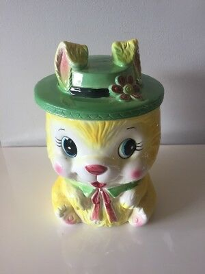 Vintage Cookie Biscuit Jar Made In Japan Bunny Rabbit