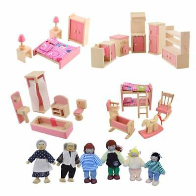 Wooden Furniture Miniatures Dolls House Room Accessories Kids Pretend Play Toy
