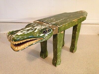 Exceptional Antique Chippy Paint Folk Art Wood Hand Carved Crocodile Foot Stool