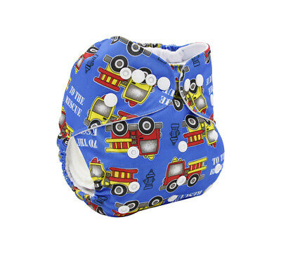 Modern Cloth Reusable Washable Baby Nappy Diaper & Insert, Blue Fire Trucks