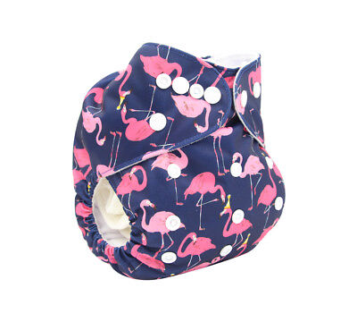 Modern Cloth Reusable Washable Baby Nappy Diaper & Insert, Pink & Blue Flamingos
