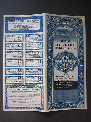 vTg 1938 Golden San Diego CA Heaven on Earth Club Million Dollar California Bond