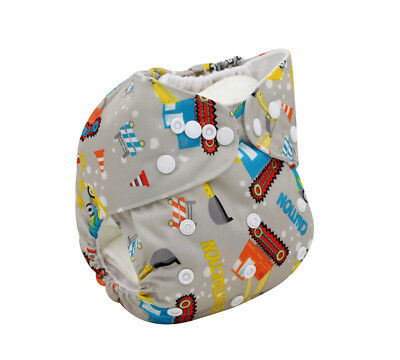 Modern Cloth Reusable Washable Baby Nappy Diaper & Insert, Cute Construction