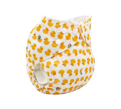 Modern Cloth Reusable Washable Baby Nappy Diaper & Insert, Cute Yellow Ducks