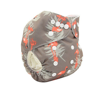 Modern Cloth Reusable Washable Baby Nappy Diaper & Insert Grey & Peach Flamingos