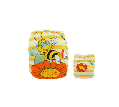 Modern Cloth Reusable Washable Baby Nappy Diaper & Insert, Cute Bee & Flowers