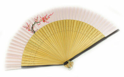 Pink Classical Fabric Floral Painted Pattern Graven Hand Fan B032