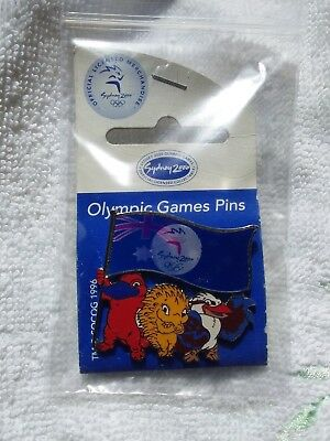 Mascots Holding Flag Holograph Sydney Olympic Games 2000 Pin Badge Collect