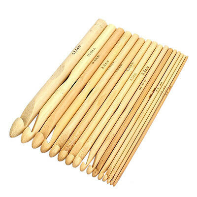 16pcs Lot Set Bamboo Handle Crochet Hooks Needles Knit Knitting Weave Craft Yarn