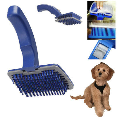Pet Dog Cat Brush Comb Self Cleaning Slicker Grooming Tool Hair Trimmer Blue S/L
