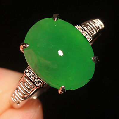 13.25Ct 925 Sterling Silver 100% Natural Grade A Green Jadeite Ring Cab UCDZ23