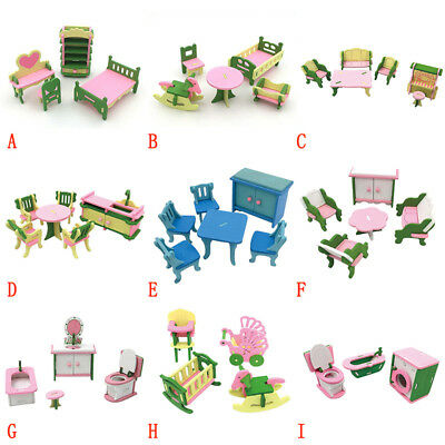UK Wooden Furniture Doll House Family Christmas Toys Set For Kids Children Gifts