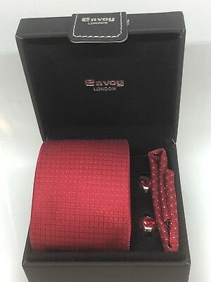New Mens Red Silk Tie With Matching Pocket Square & Rhodium Plated Cufflinks