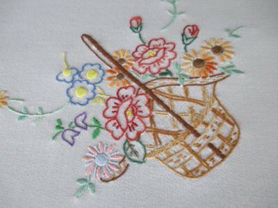 """VINTAGE TABLECLOTH HAND EMBROIDERED BASKETS OF FLOWERS-30""""sq."""