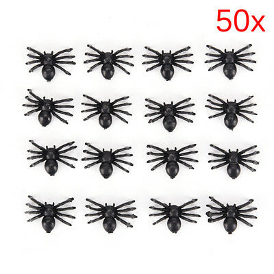 50pcs Small Plastic Fake Spider Toys Novelty Halloween Decorative Spiders