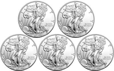 5x 2018 1oz American Silver Eagle Bullion Coins *MINT*