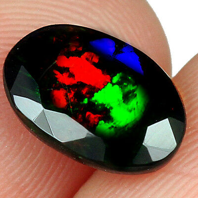 2.15Ct Ethiopian Play Of Color Black Opal Faceted Cut  Natural UQOP2452