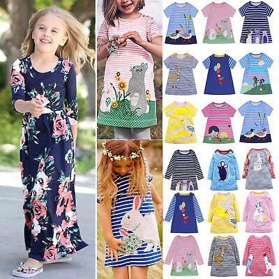Children Kids Girls Summer Tunic Dress Casual Holiday Party Sundress Clothes AU