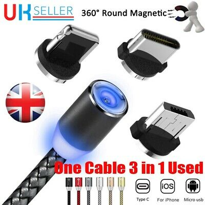 1M 2M 2.4A 3in1 USB-C Type C/iOS/ Micro USB Android Round Magnetic Charger Cable