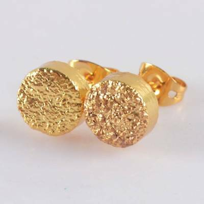8mm Round Natural Agate Titanium Druzy Stud Earrings Full Gold Plated T064816
