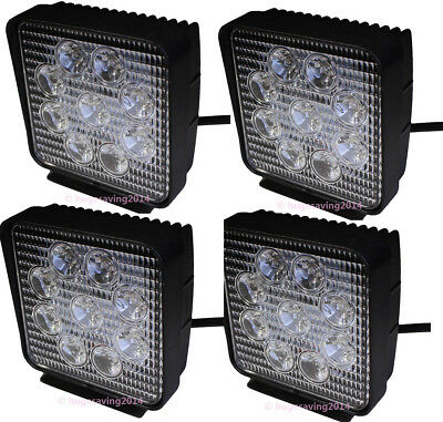 4x 4Inch 27W Square flood Beam Led Work Light Driving Fog Lights Front Bumper