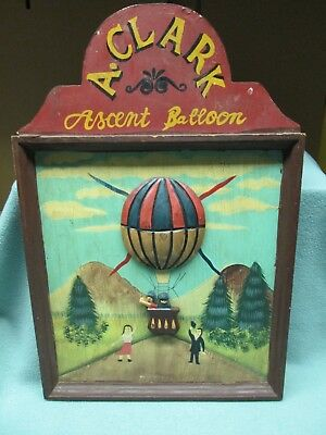 Folk Art Hot Air Balloon Picture A. Clark Ascent Balloon Wall Hanging Wood