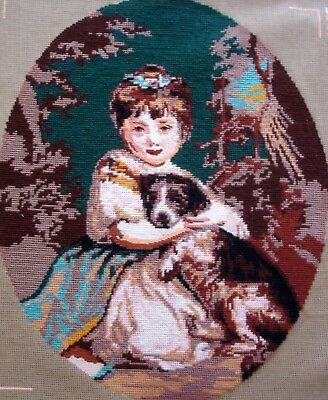 Antique Completed Cross Stitch Tapestry Picture Unframed Girl & Dog By Reynolds
