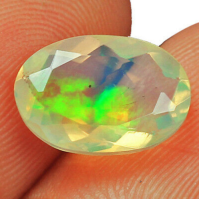 1.2Ct Ethiopian Play Of Color Welo Opal Faceted Cut 100% Natural UQOL2258