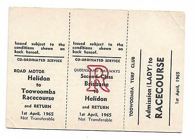 1965 Brisbane Toowoomba Racecourse 3 Part Ticket Lady 1st April 1965