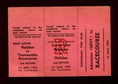1965 Brisbane Toowoomba Racecourse 3 Part Ticket Gent 1st April 1965