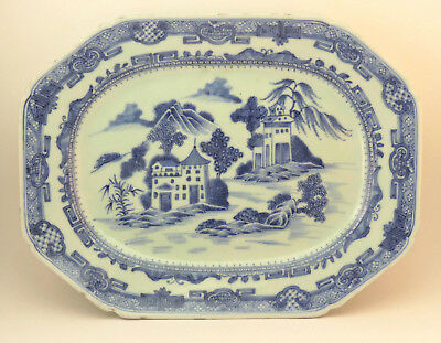 c1770 ANTIQUE 18thC CHINESE QING QIANLONG BLUE AND WHITE PORCELAIN PLATTER PLATE