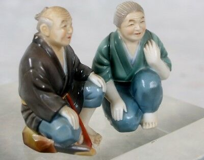 Pair Japanese Toshikane Hand Painted Porcelain Man Old Woman Salt Pepper Shakers