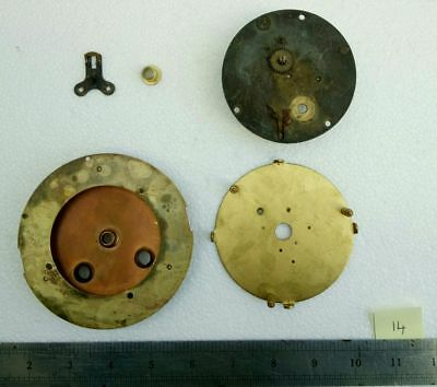 3 No. Antique Vintage Brass Clock Movement / Dial Mounting Plates Joblot