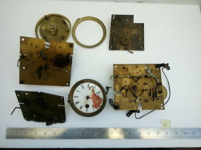 Joblot Antique Vintage Brass Clock Parts Plates, Dial, Hammers Cogs