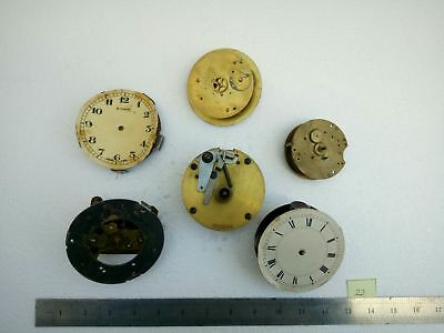 Joblot Vintage Brass Clock Movements - Spares / Repairs