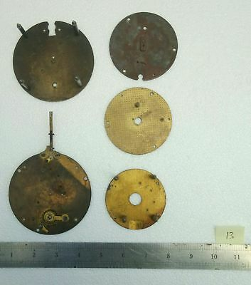 5 No. Antique Vintage Brass Clock Movement / Dial Mounting Plates Joblot