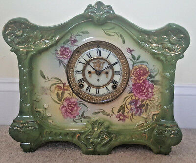 Antique Working 1881 Ansonia Victorian Royal Bonn Porcelain Ceramic Mantel Clock