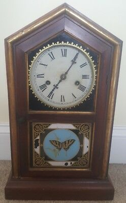 RARE Antique Working 1860's JEROME Clock Co Victorian Cottage Mantel Shelf Clock