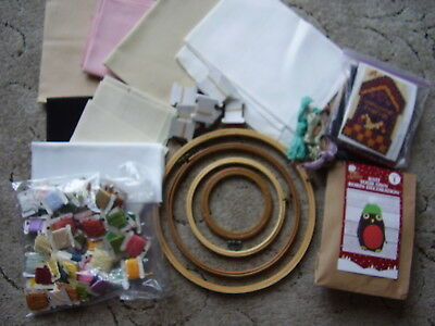 Bundle of Craft Items Hoops, Aida, Silks Kits and Thread cards.