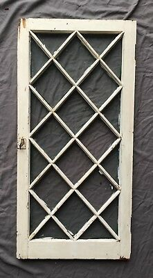 Antique 22 Lite Casement Cupboard Diamond Window Cabinet Door Vtg Chic 399-18E