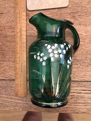 Vintage Lilly Of The Valley Decorated Green Glass Jug Rare Collectable Must See