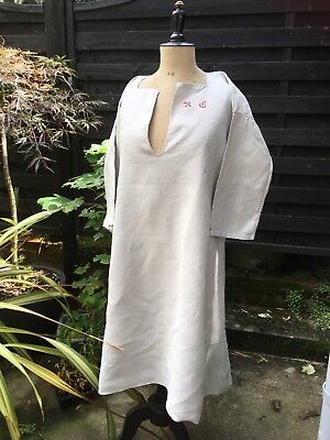 Beautiful Linen French chemise Chore Shirt R C/G smock 19th century Chalky Grey