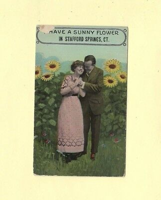 CT Stafford Springs 1908-29 postcard SUNNY FLOWERS CONN