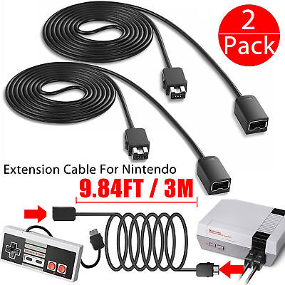 2 Pack 10FT Extension Cable Cord for Nintendo SNES & NES Mini Classic Controller