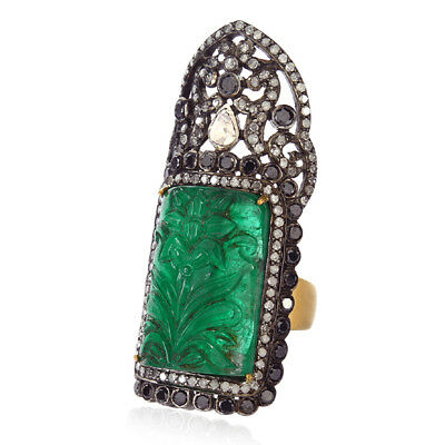 18k Gold Carved Emerald Long Ring Pave Diamond Sterling Silver Designer Jewelry