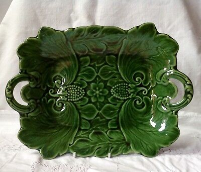 Antique, Poss. Minton Green Leaf Majolica Glazed Fruit / Grape Bowl, Mid 1800s