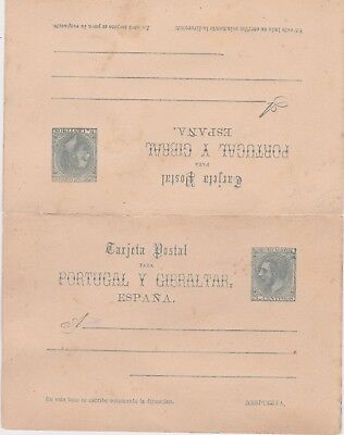 Spain-1884 Unused 5 + 5 c grayish green on buff PS postcard with reply H&G 17