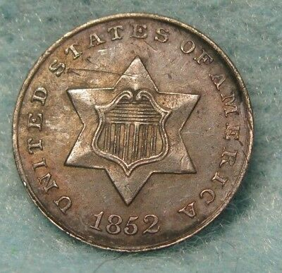1852 Three Cent Silver SHARP Almost Uncirculated+ Details * US Coin #2610