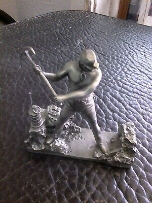 """1977 Franklin Mint Fine Pewter Ron Hinote """"The miner"""" Sculpture"""