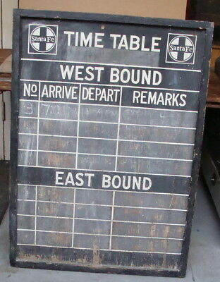 Original Santa Fe railroad train station schedule board *